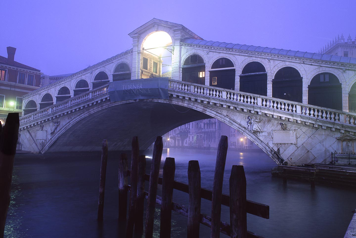 Image of Rialto Bridge on a misty evening, Venice