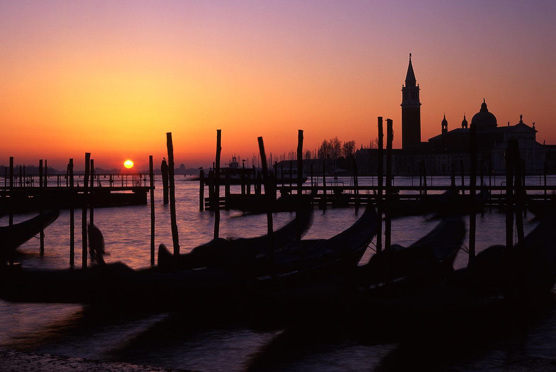 Image of San Giorgio Maggiore and gondolas at sunrise