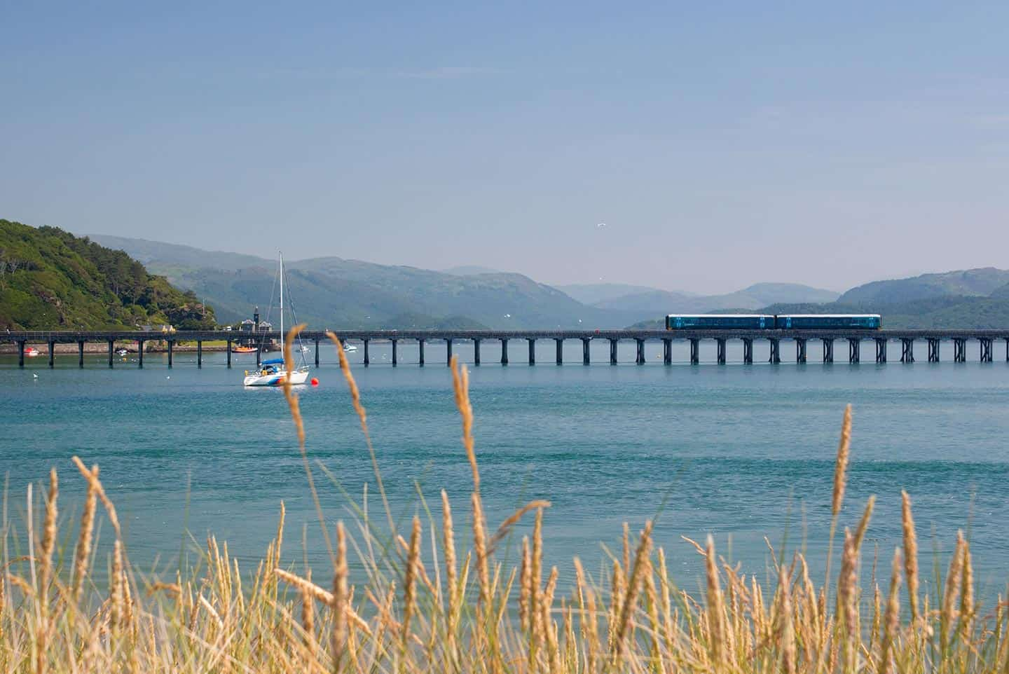 Image of train to Barmouth crossing the scenic Mawddach estuary