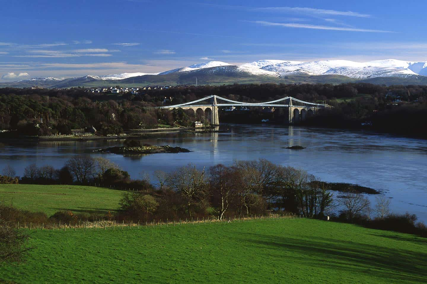 Image of the Menai Suspension Bridge between mainland Wales and Anglesey