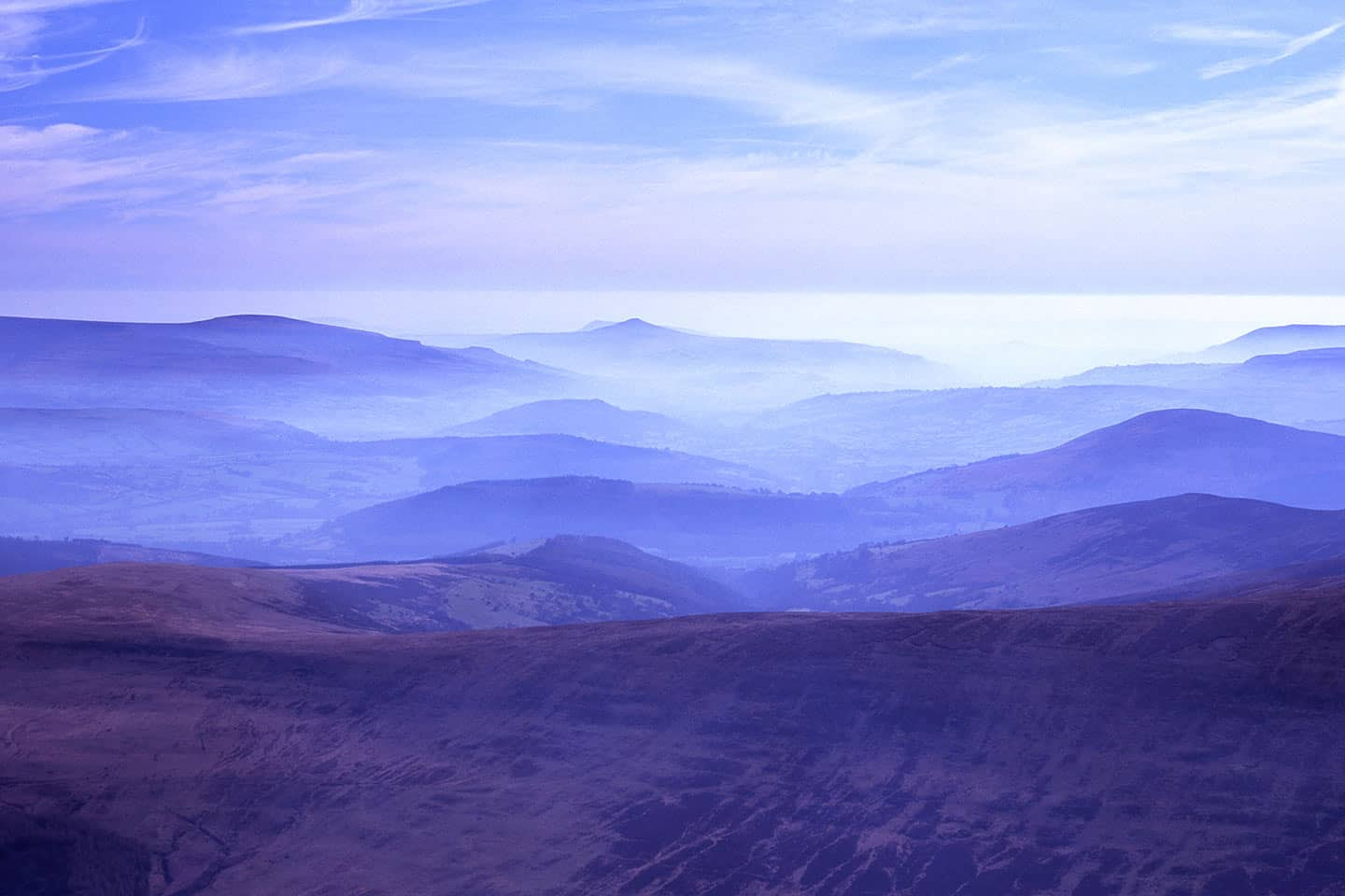 Image of the Brecon Beacons in a morning mist