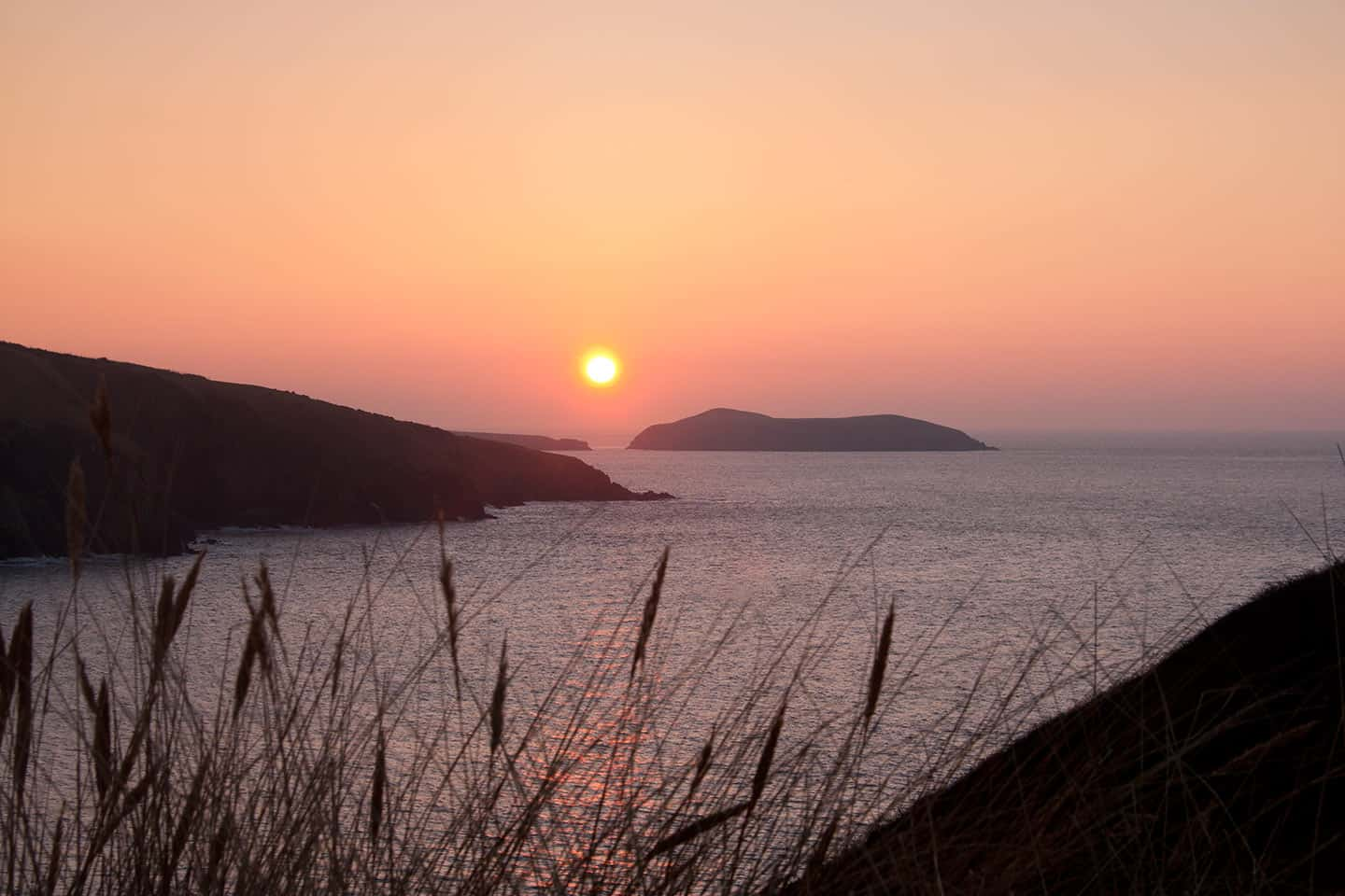 Image of Cardigan Island at sunset, Mid Wales