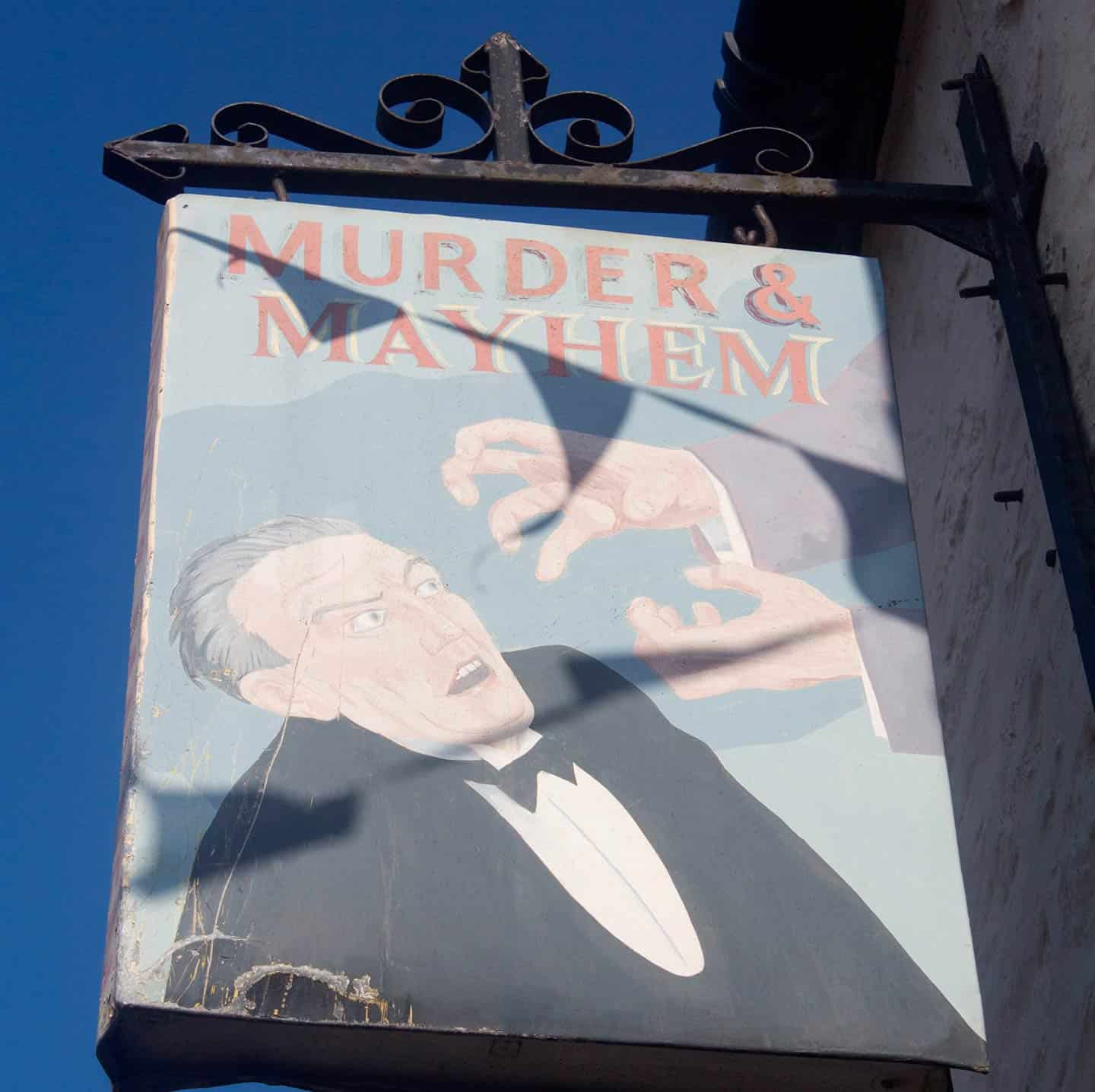 Image of Murder & Mayhem bookshop sign, Hay-on-Wye