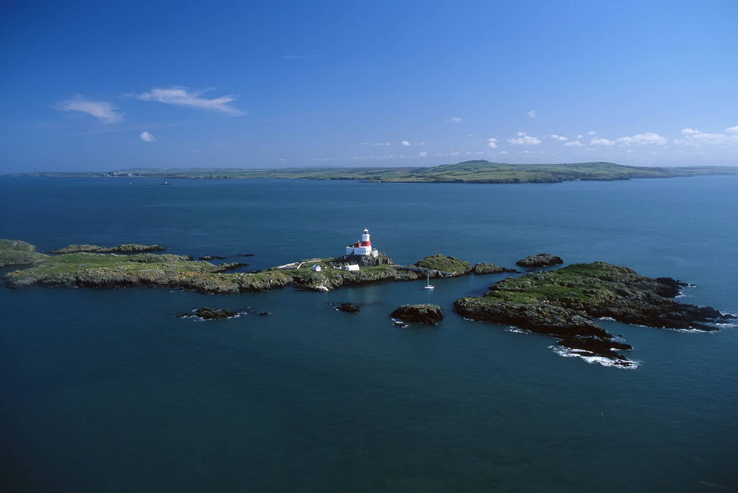 Image of the Skerries lighthouse and islands, North Wales