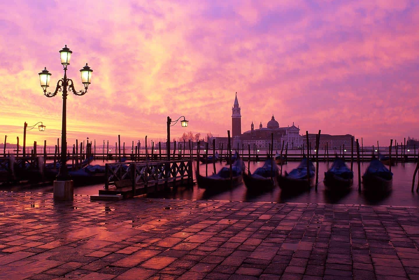 Image of San Giorgio Maggiore church in Venice Italy during a spectacular dawn