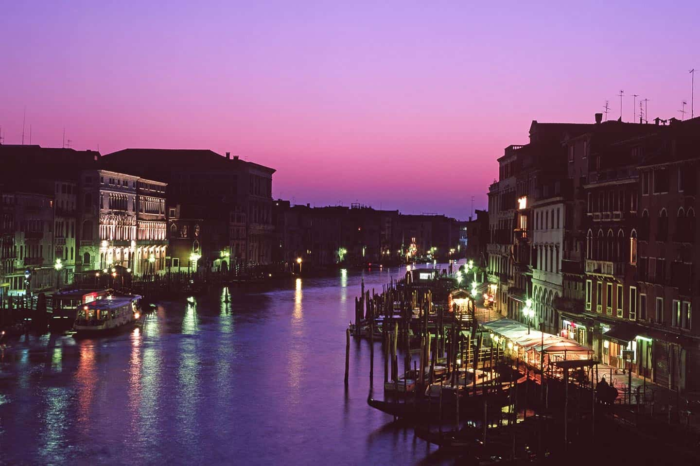 Image of the Grand Canal in Venice at night