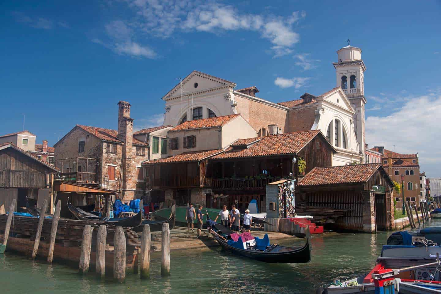 Image of the Squero di San Trovaso boatyard in Venice