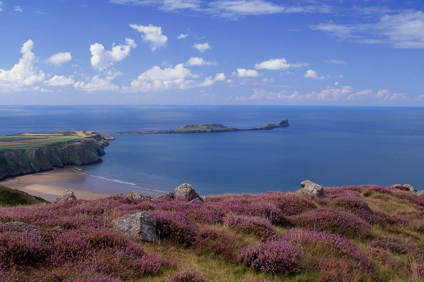 Image of Worm's Head tidal island from Rhossili, Gower, Wales