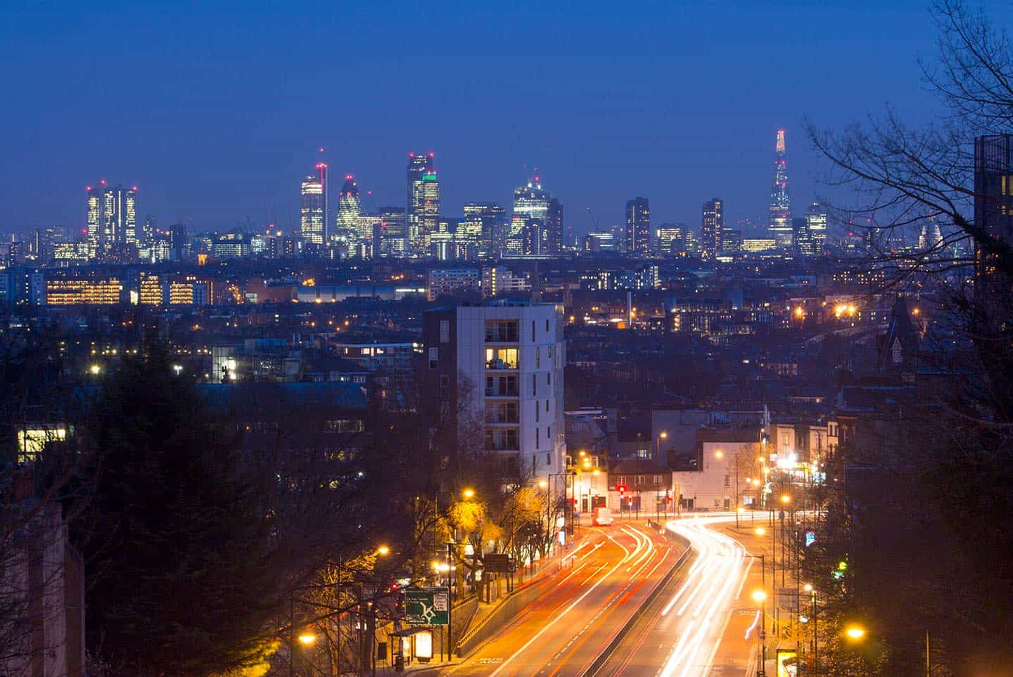Image of The spectacular London skyline from Archway Bridge