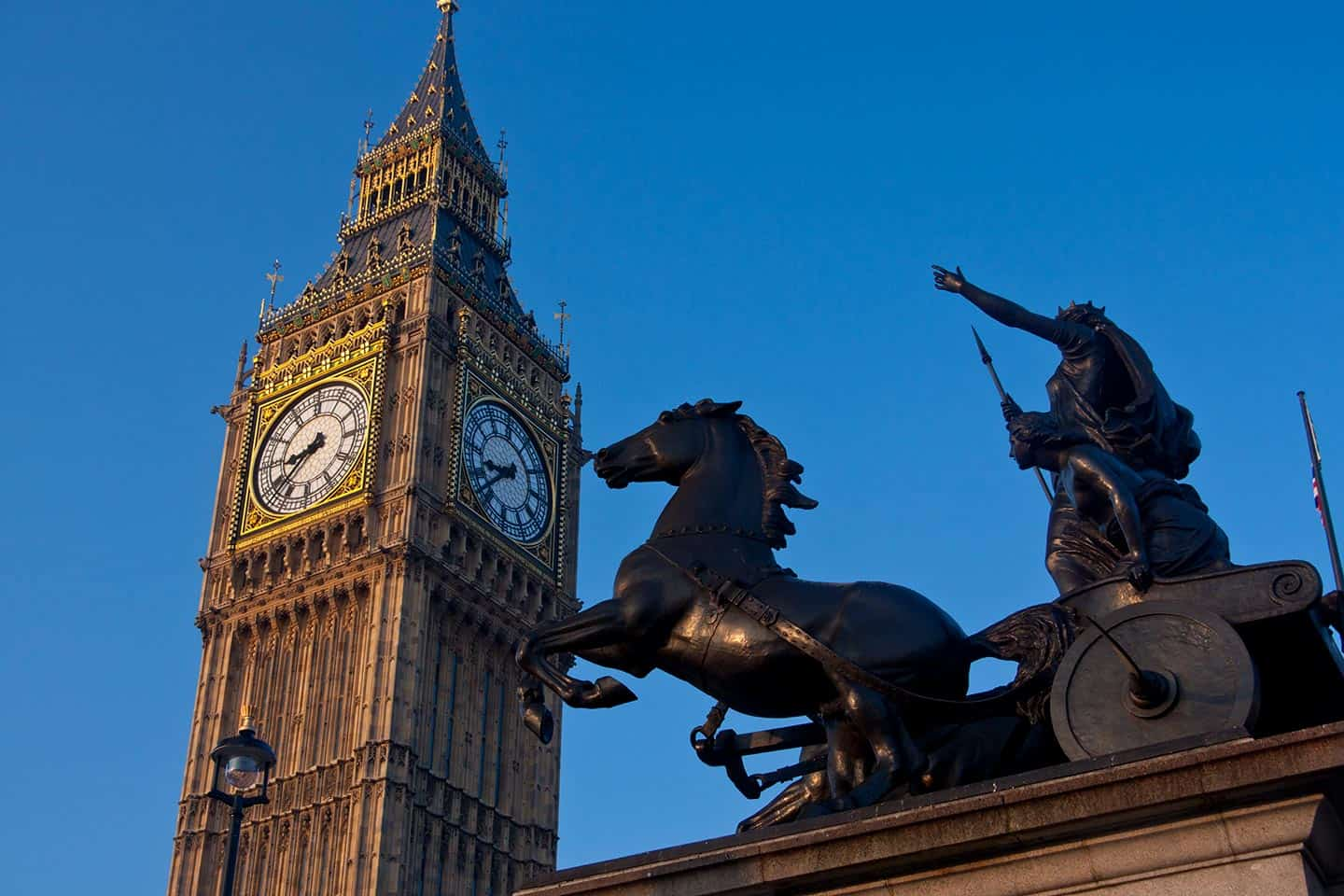 Sightseeing London Image of Big Ben clock tower and statue of Queen Boadicea
