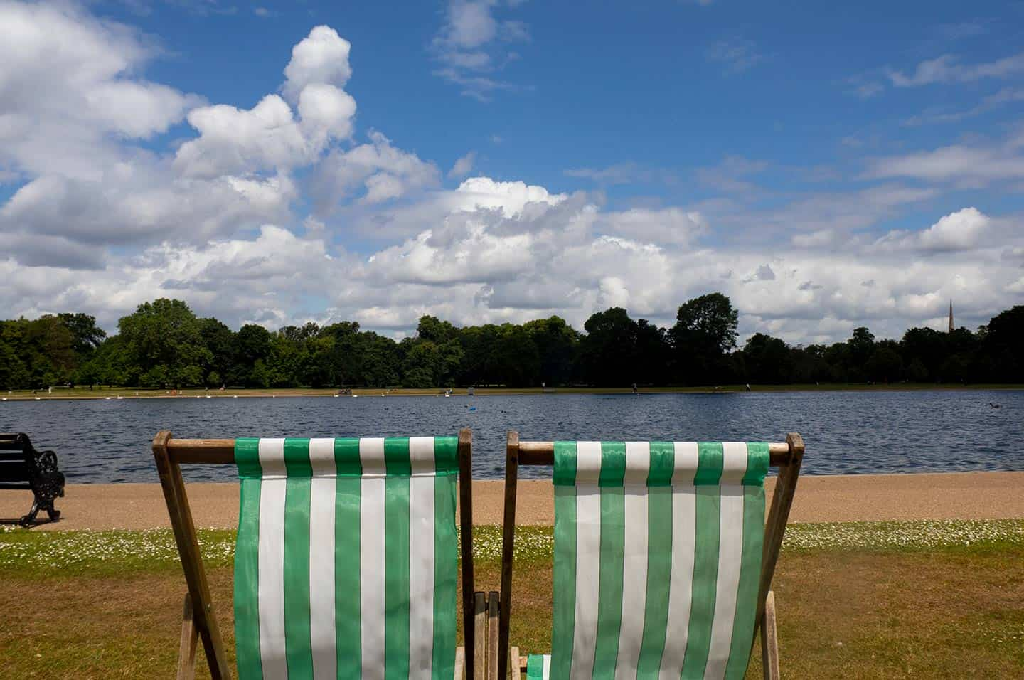Image of two deckchairs in Kensington Gardens, London