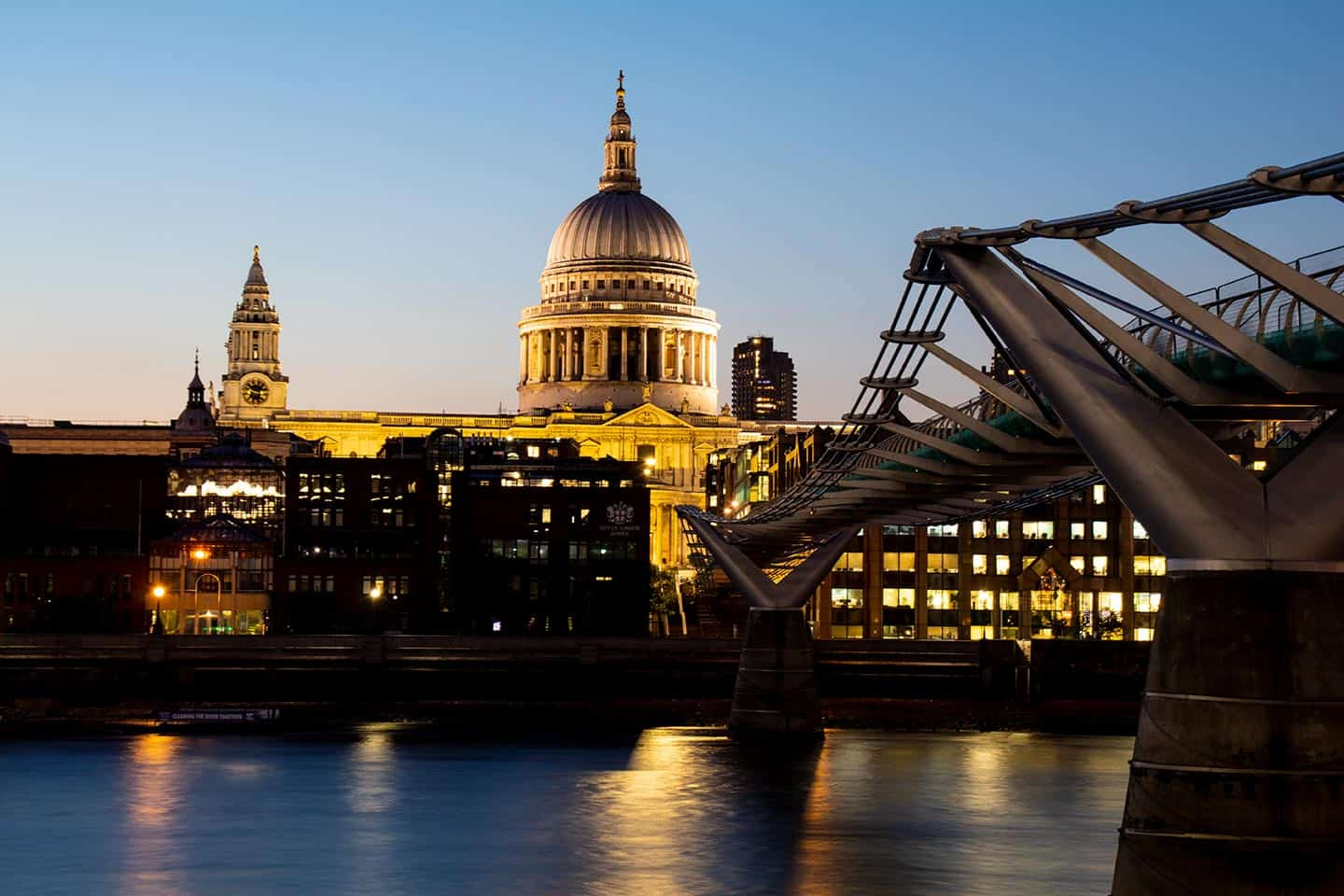 Image of the Millennium bridge and St Paul's Cathedral, London