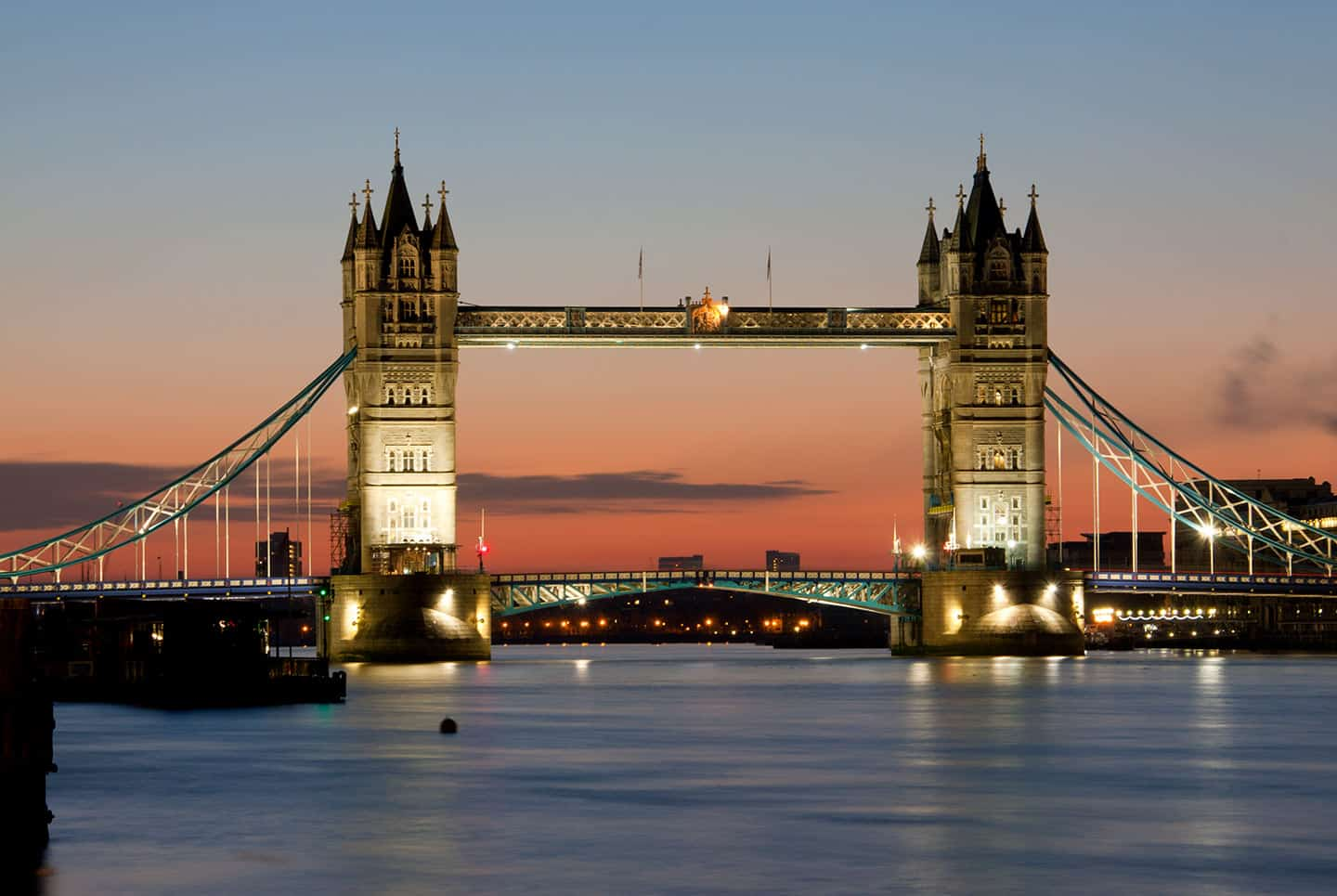 Image of Tower Bridge in London at dawn