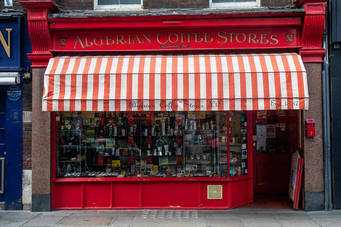 Image of the Algerian Coffee Stores on Old Compton Street, Soho