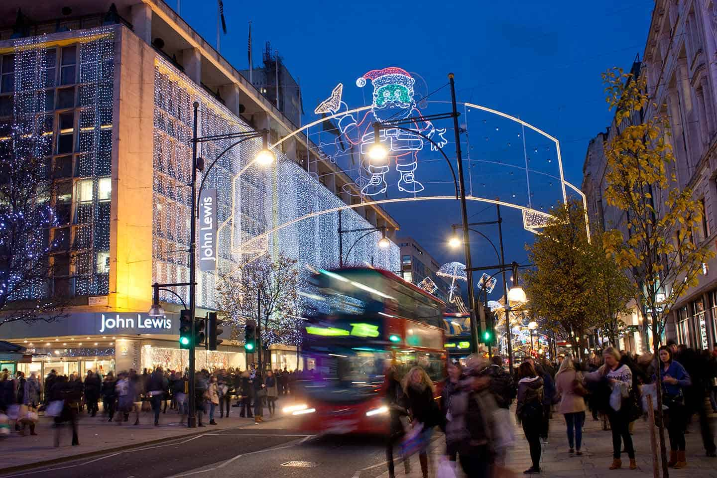 Image of London's Oxford Street at Christmas