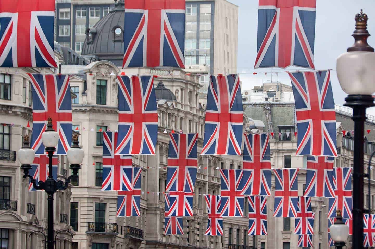 Image of Union Jack flags hanging along Regent Street, London