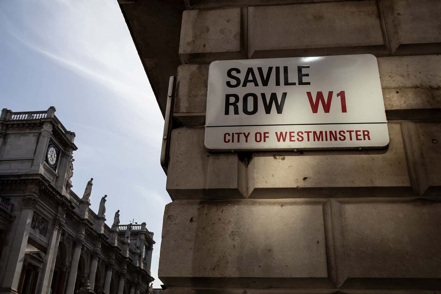 Image of the Savile Row street sign in Mayfair, London