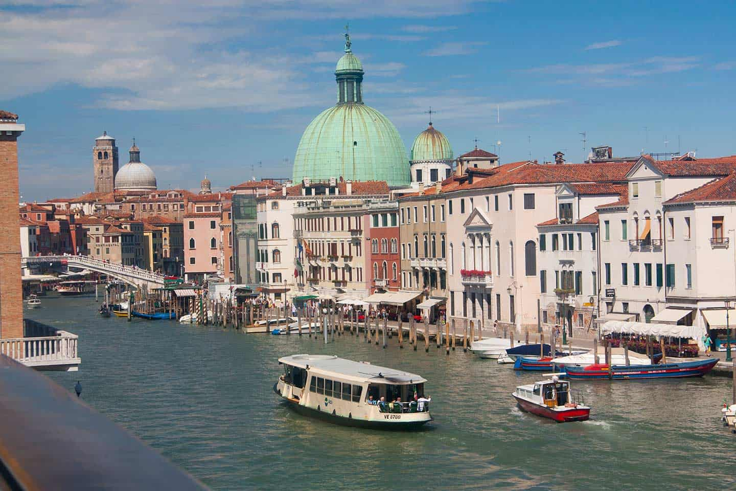 Image of a vaporetto or waterbus on the Grand Canal in Venice