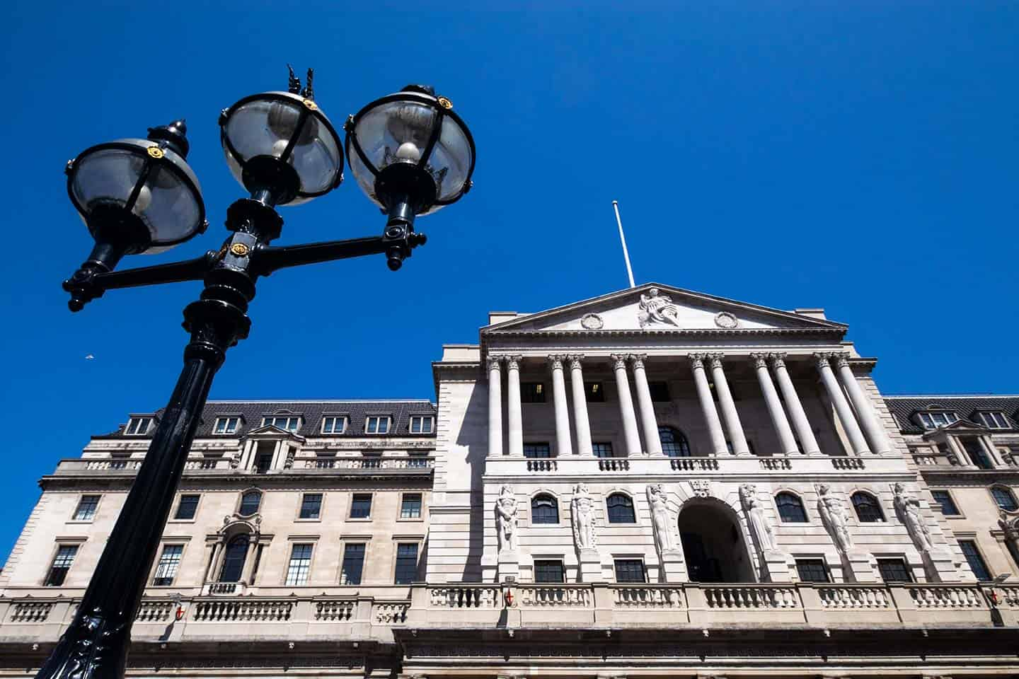 Image of the exterior of the Bank of England building in the City of London