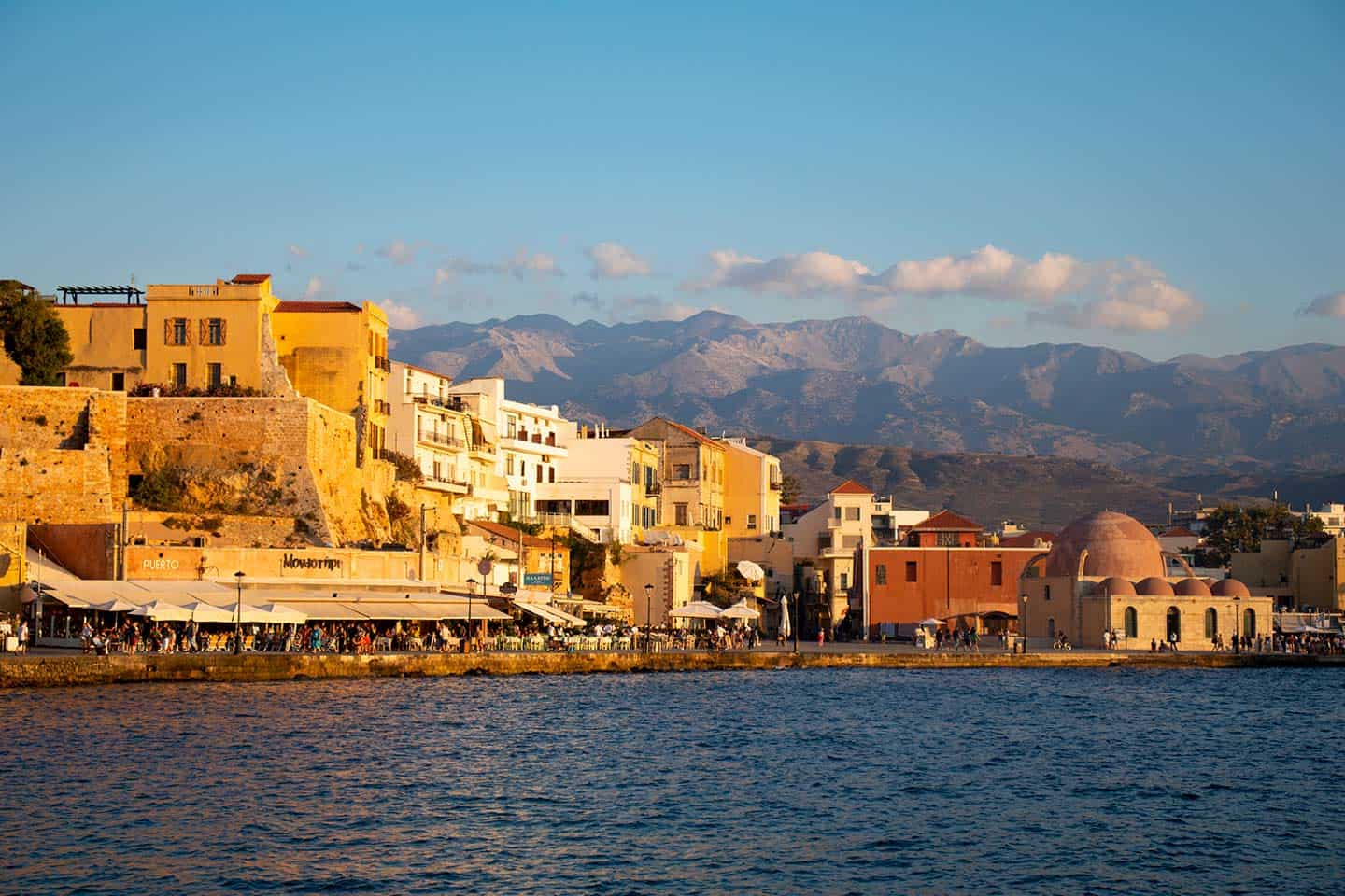 Image of the harbour in Chania nand the White Mountains Crete