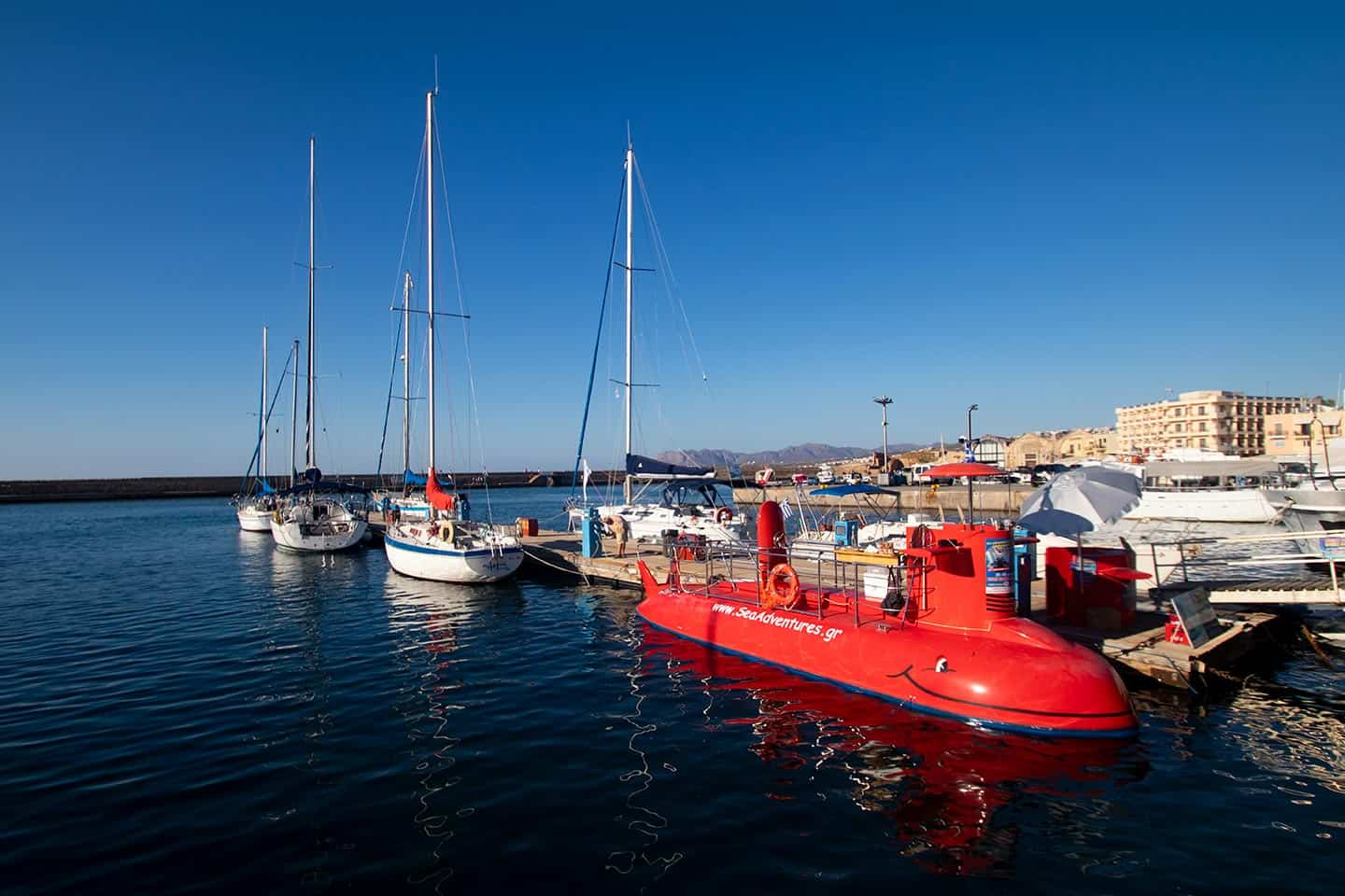 Image of a tourist submarine in the harbour at Chania Crete