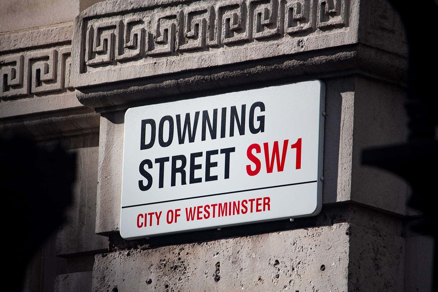 Image of the famous Downing Street sign in London