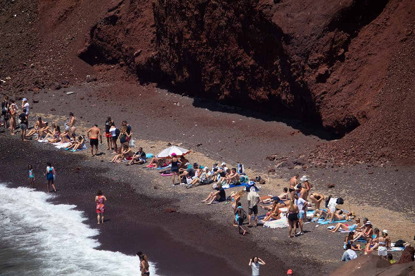 Image  of people on Red Beach Santorini in Greece