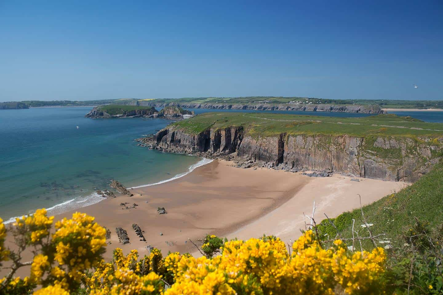 Image of Sandtop Bay beach on Caldey Island, Wales