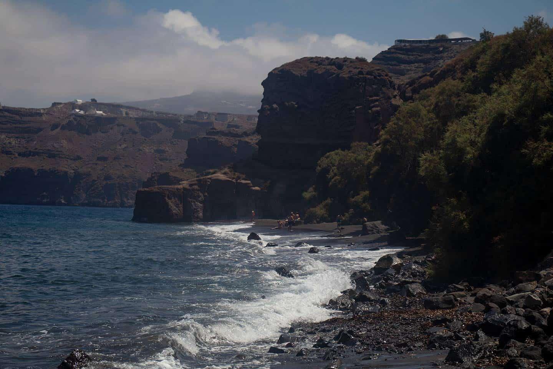 Image of Caldera Beach and cliffs on Santorini