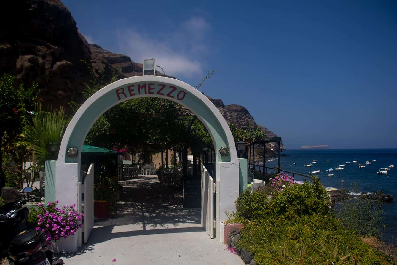 Image of Remezzo restaurant on Caldera Beach in Santorini Greece