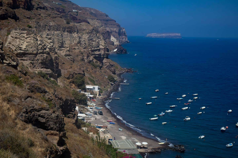 Image of Caldera beach and harbour in Santorini