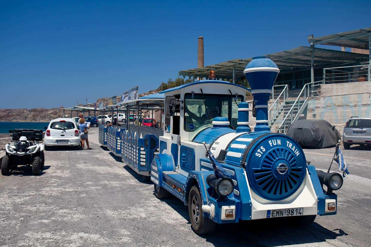 Image of the tourist train at Vlychada Santorini Greece