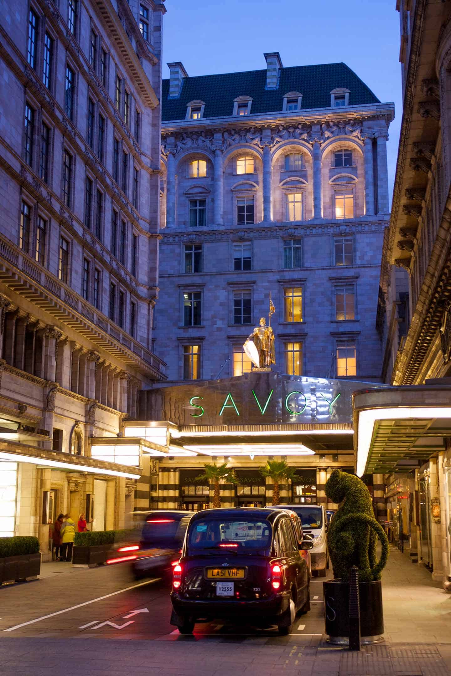 Image of the entrance to the Savoy Hotel, London
