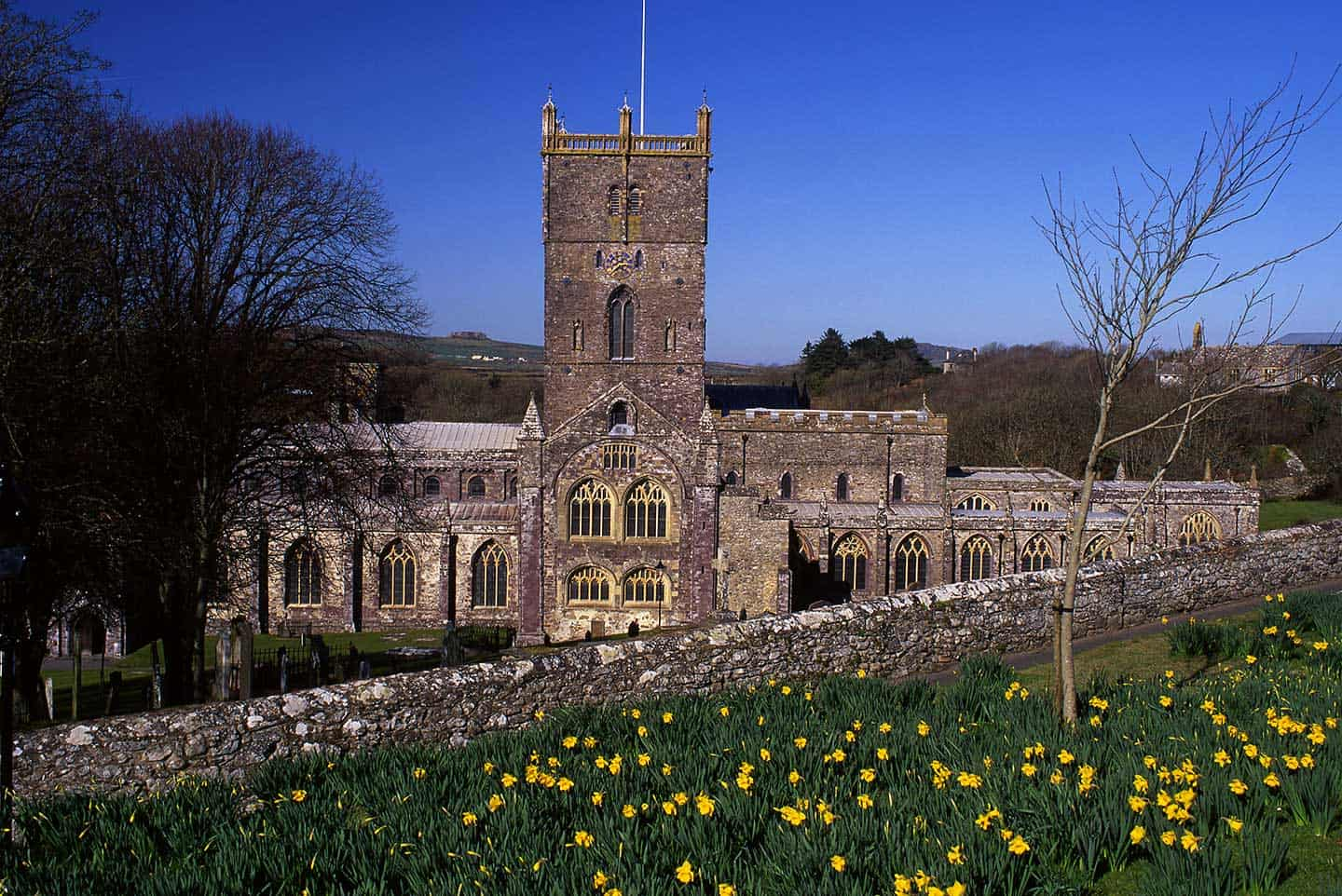 Image of St David's Cathedral in Wales in spring