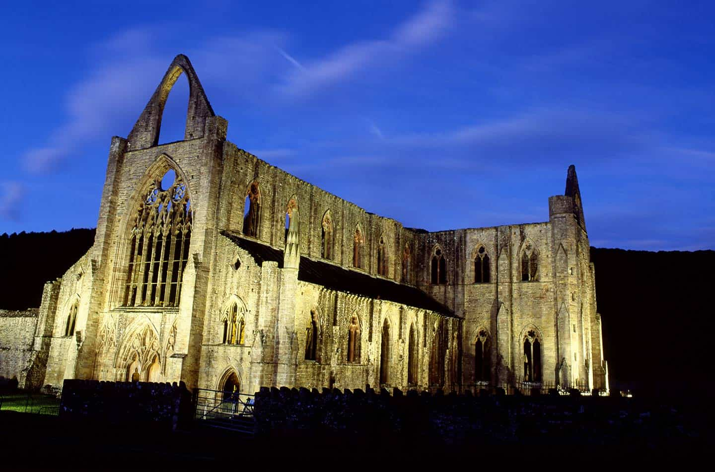 Image of Tintern Abbey, Wales, at night