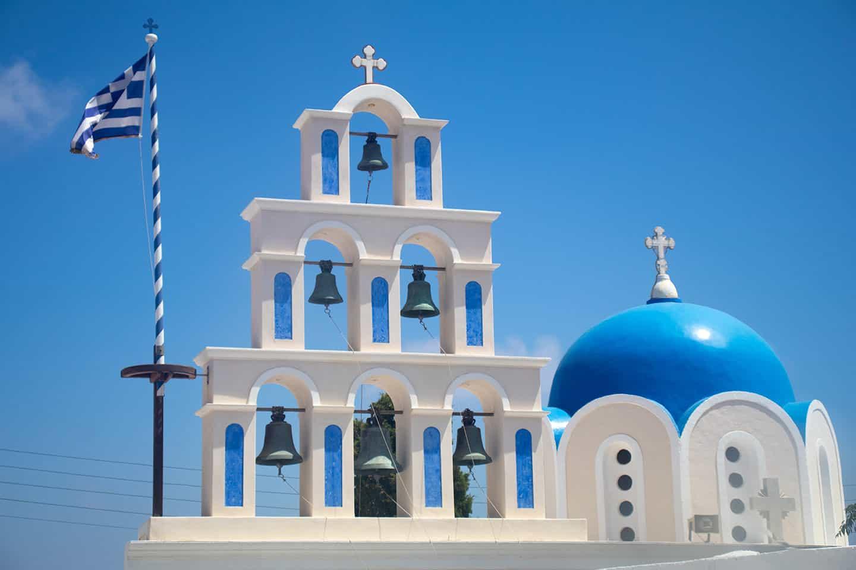 Image of church in Akrotiri village Santorini