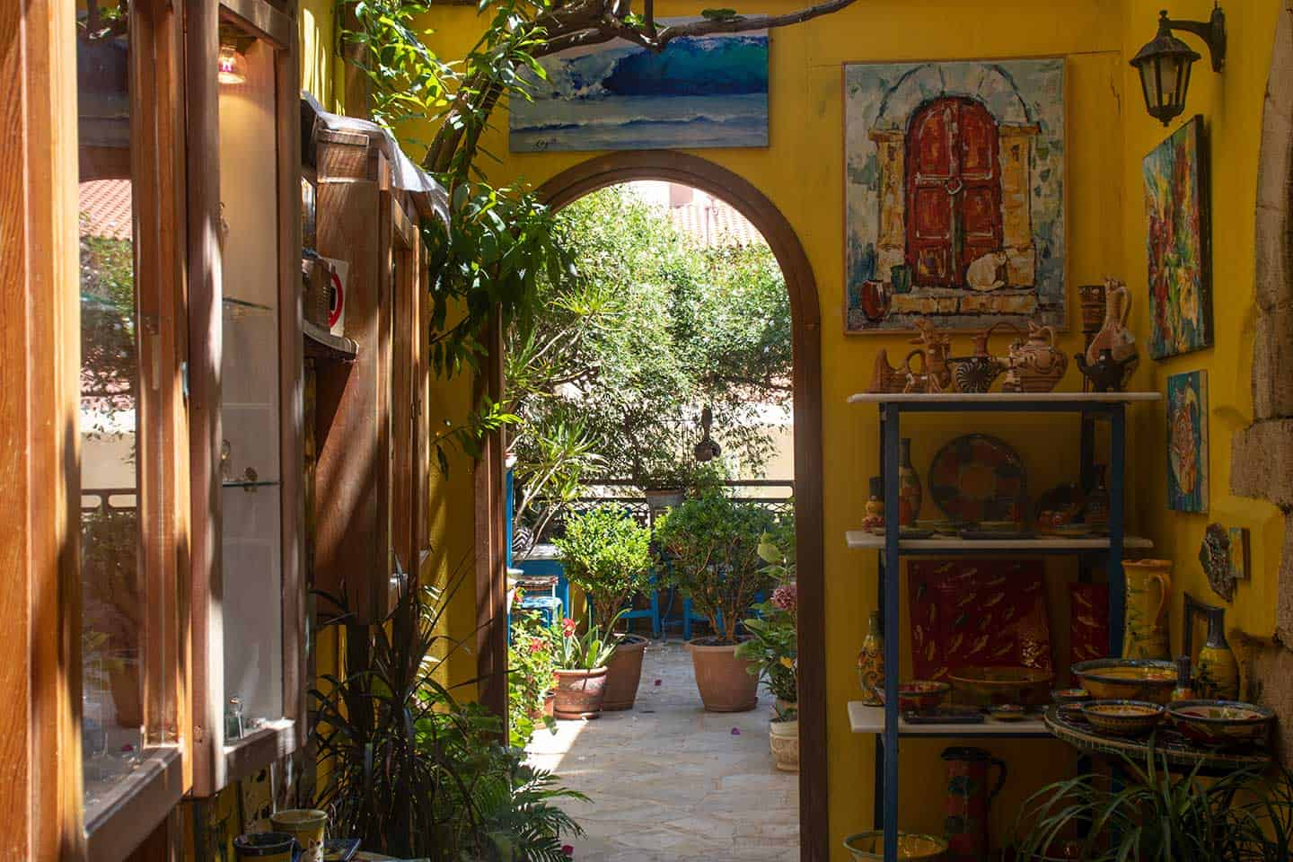 Image of an art gallery and craft shop in Chania Crete Greece