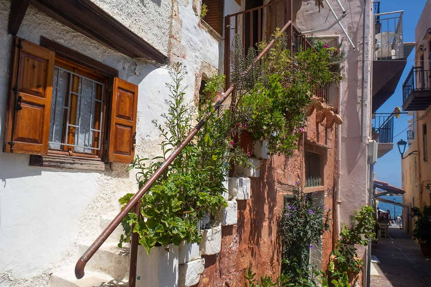 Image of a house with a staircase outside in Chania's Old Town Greece