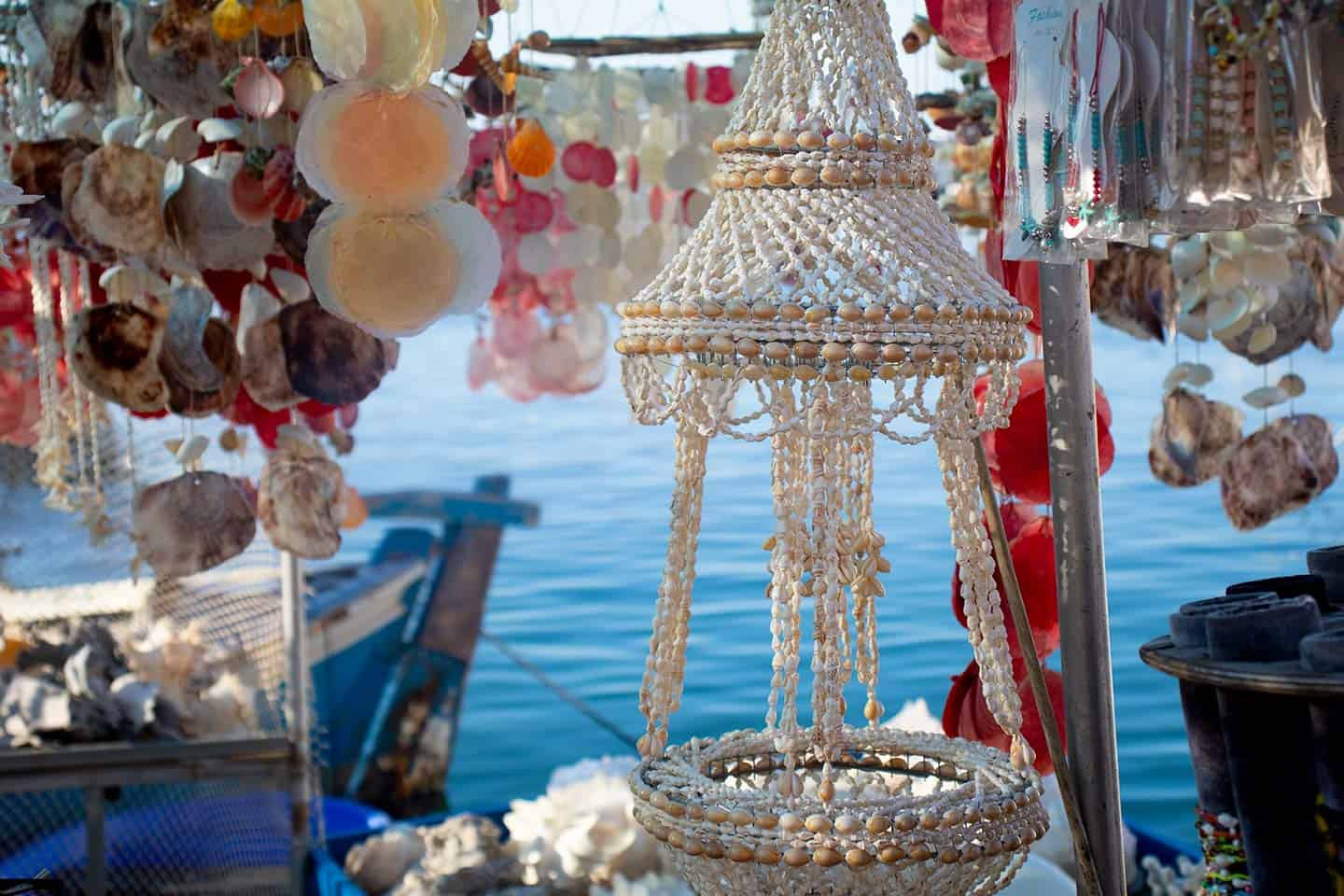 Image of souvenirs made from sea shells in Chania harbour Crete Greece