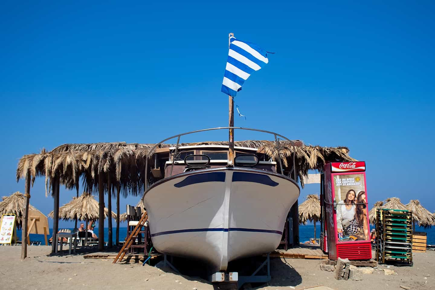Image of the boat at the cocktail bar at Geropotamos beach Crete