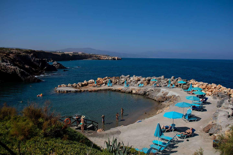 Image of a man-made beach and cove at the Creta Panorama resort