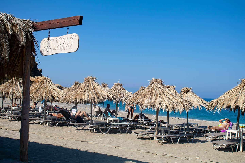 Image of sunbeds and umbrellas at Geropotamos beach