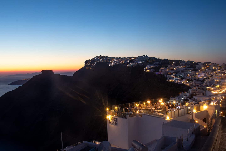 Image of the Santorini village of Imerovigli at dusk