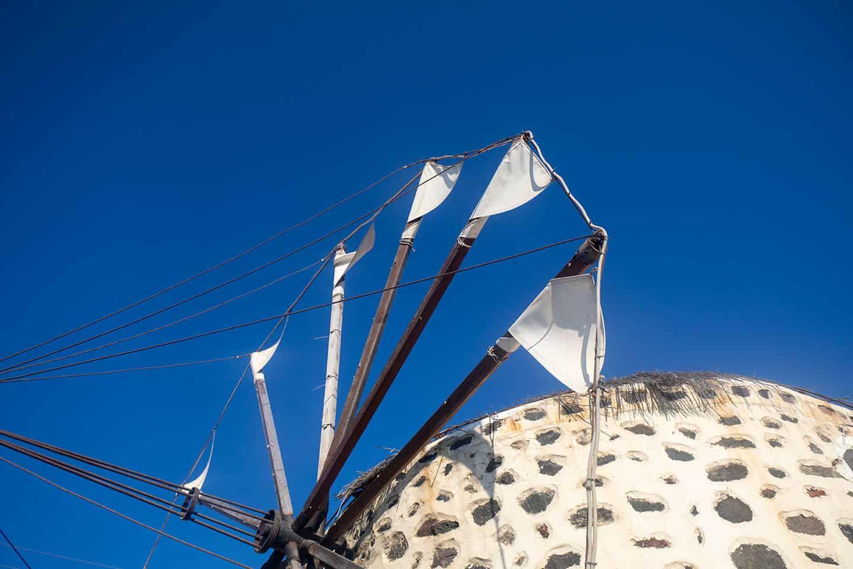 Image of traditional windmill in Karterados Santorini