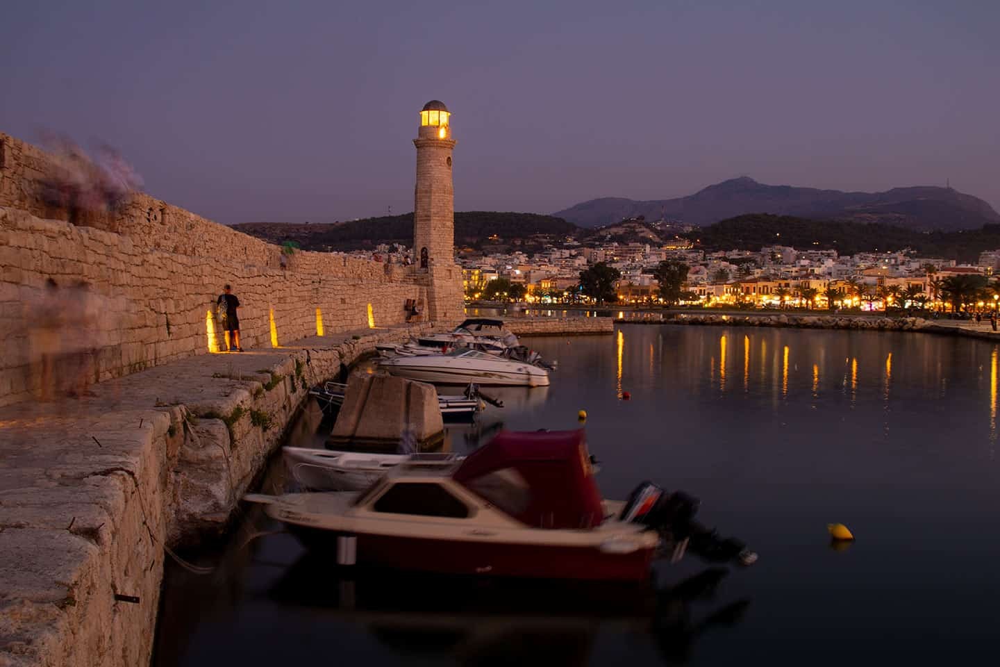 Image of rethymno lighthouse and harbour Crete Greece