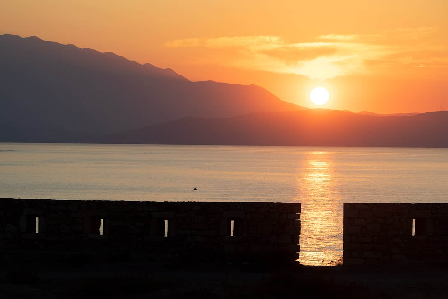 Image of a sunset from the FORTEZZA IN RETHYMNO GREECE
