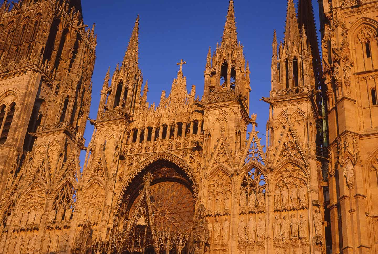 Image of Rouen Cathedral, France,  at sunset