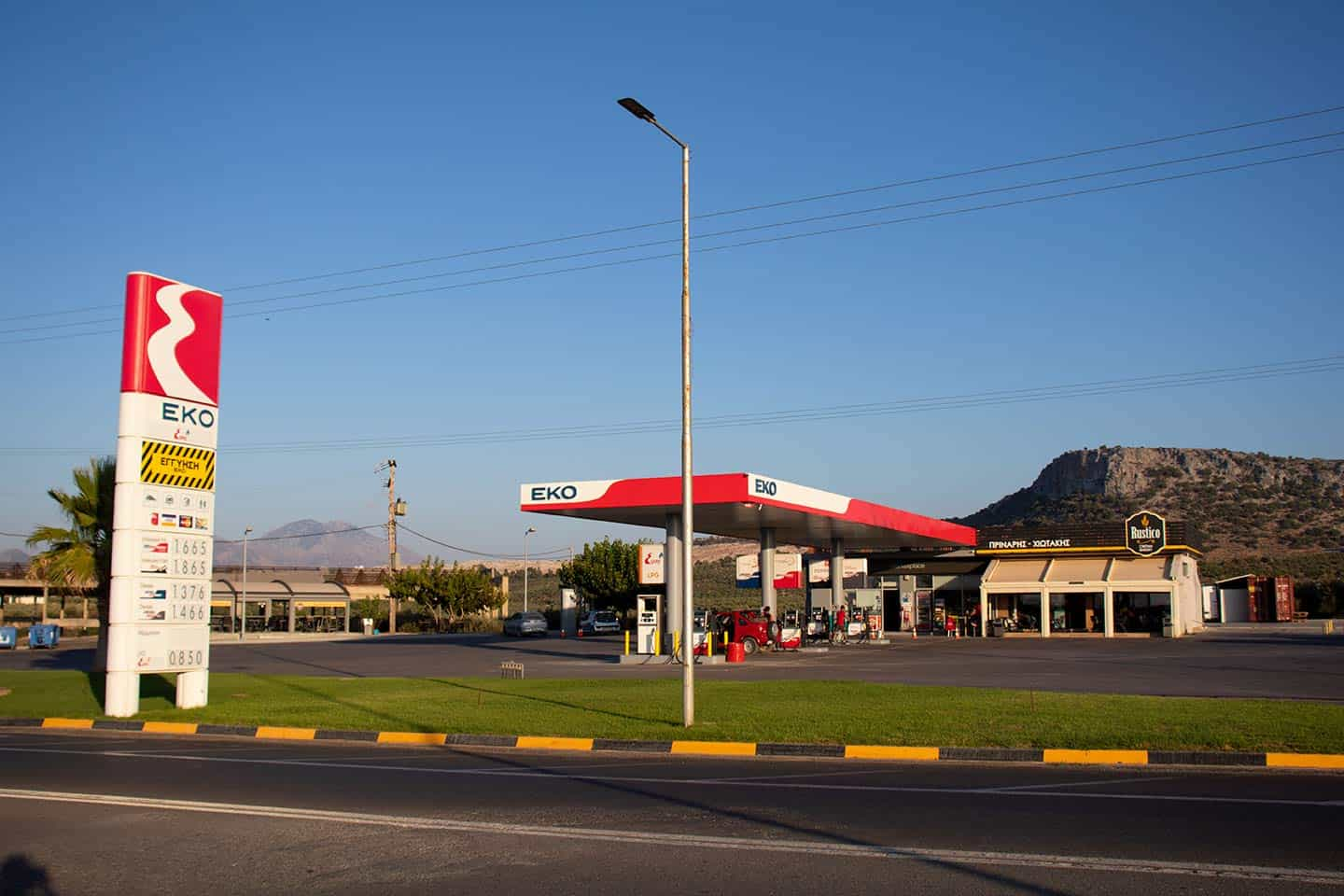 Image of gas station at turn off for Spilies beach in Crete