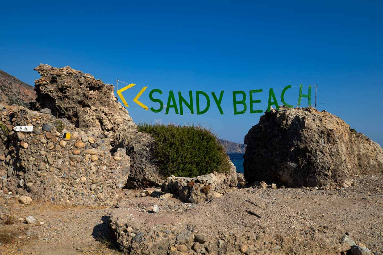 'Image of Sandy Beach' sign directing visitors to Anidri beach Paleochora Crete