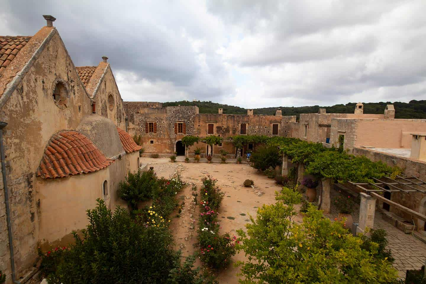 Image of the courtyard and church at Arkadi monastery